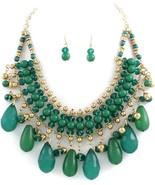 Green teardrop acrylic bead Statement Bib neckl... - $20.78
