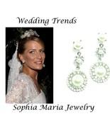 Bridal dangle round white pearl earring Austria... - $12.86