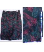 Betsey Johnson Black print skirt Sequins L Silk... - $37.99