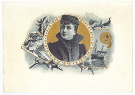 Cigar Box Label Woman in Fur Winter Scene Ship ... - $9.30