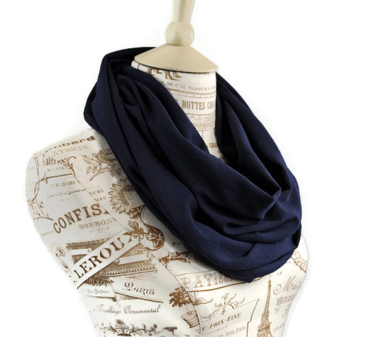 Infinity Scarf Navy Blue Dark Loop Scarf