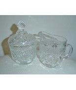 Vintage EAPG Clear Pressed Glass Sugar Bowl & C... - $22.00