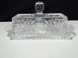 ELEGANT CUT CRYSTAL BUTTER SERVER WITH COVER~~a... - $14.95