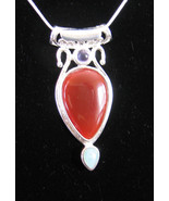 Sterling SIlver RED CARNELIAN PENDANT + CHAIN  ... - $30.99