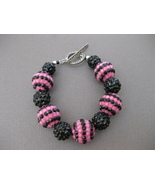 Poly Resin Bracelet  Pink Black Handmade - $17.99