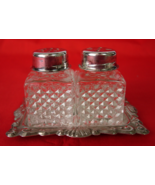 Silver Plated Salt and Pepper Shakers with Tray... - $10.00