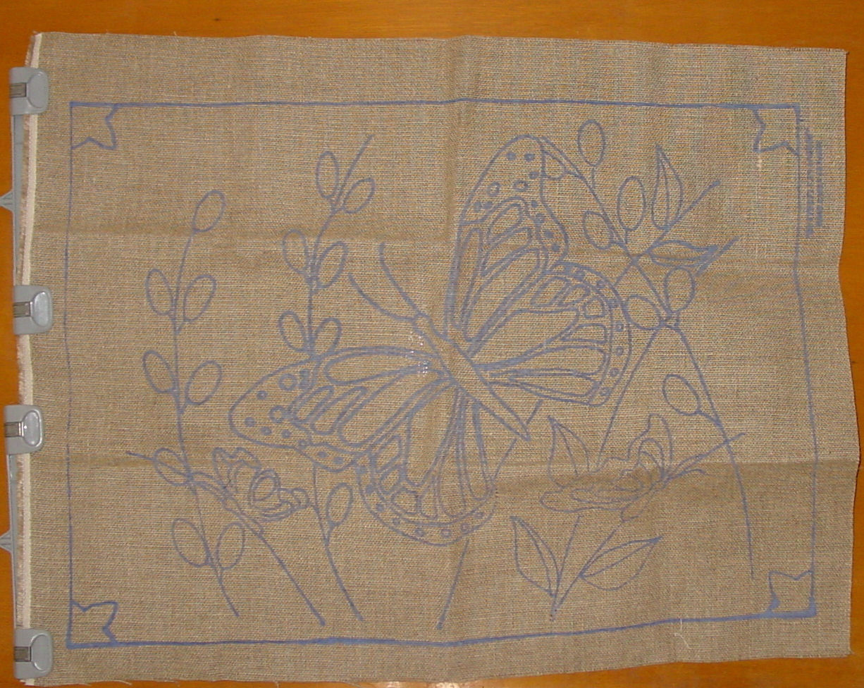 Preprinted Butterfly Burlap Needle Punch Hooked Rug Base