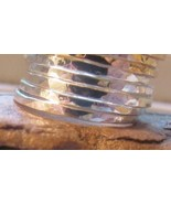 Sterling silver stack rings set of 7 satin fini... - $93.06
