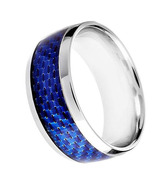 Men's Comfort Fit Stainless Steel Blue Carbon F... - $39.99