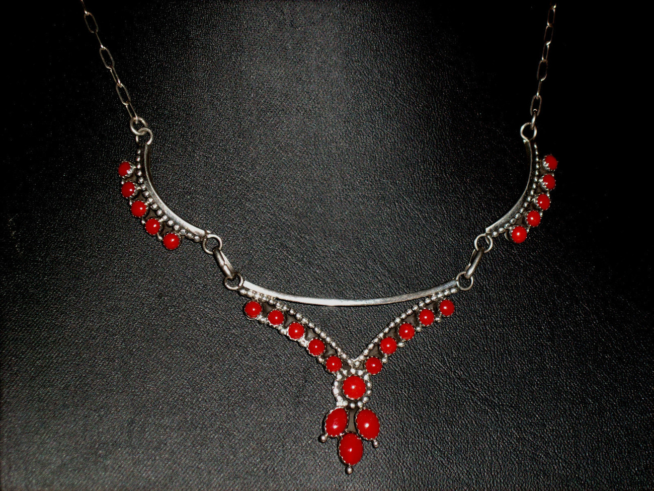 DEAD PAWN NATIVE AMERICAN STERLING SILVER RED CORAL NECKLACE SET-SIGNED!