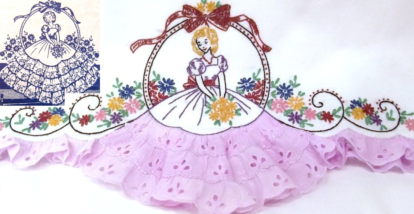 Southern belle crinoline lady eyelet embroidery