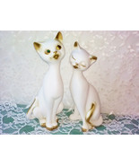 Vintage Siamese Kitty Cat Couple Crystal Rhines... - $60.00