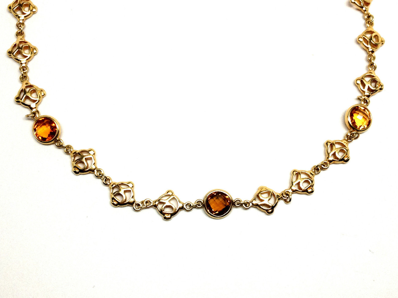 "Authentic DAVID YURMAN 18K Yellow Gold & Citrine / Smoky Quartz 16"" Necklace"