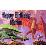 Dragon Fight Personalized Edible Cake design. - $8.99