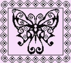 Swirly Monochrome Butterfly cross stitch chart ... - $7.50