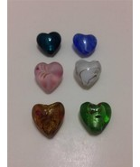 Lampwork Foil Glass Heart Beads 20x20mm 6pcs mi... - $4.89