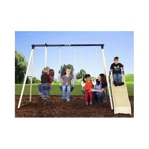 backyard swing set slide play kids gym metal fort kit outdoor toy