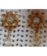 Goldtone & Crystal Floral Dangle Earrings (Pier... - $9.00