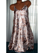 White Tan Gray Floral Chemise Short Gown 1X 2X ... - $12.50