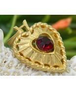 Vintage Heart Pendant Valentine Goldtone Ruby R... - $15.95