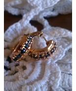 Technibond Huggie Hoop Earrings Sapphire Emeral... - $29.97