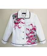 NWT Nancy Bolen White jean jacket S $165 Embell... - $69.99