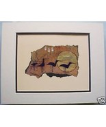 4 Birds by Ginny Hogan Cave Drawing Matted Print - $29.69