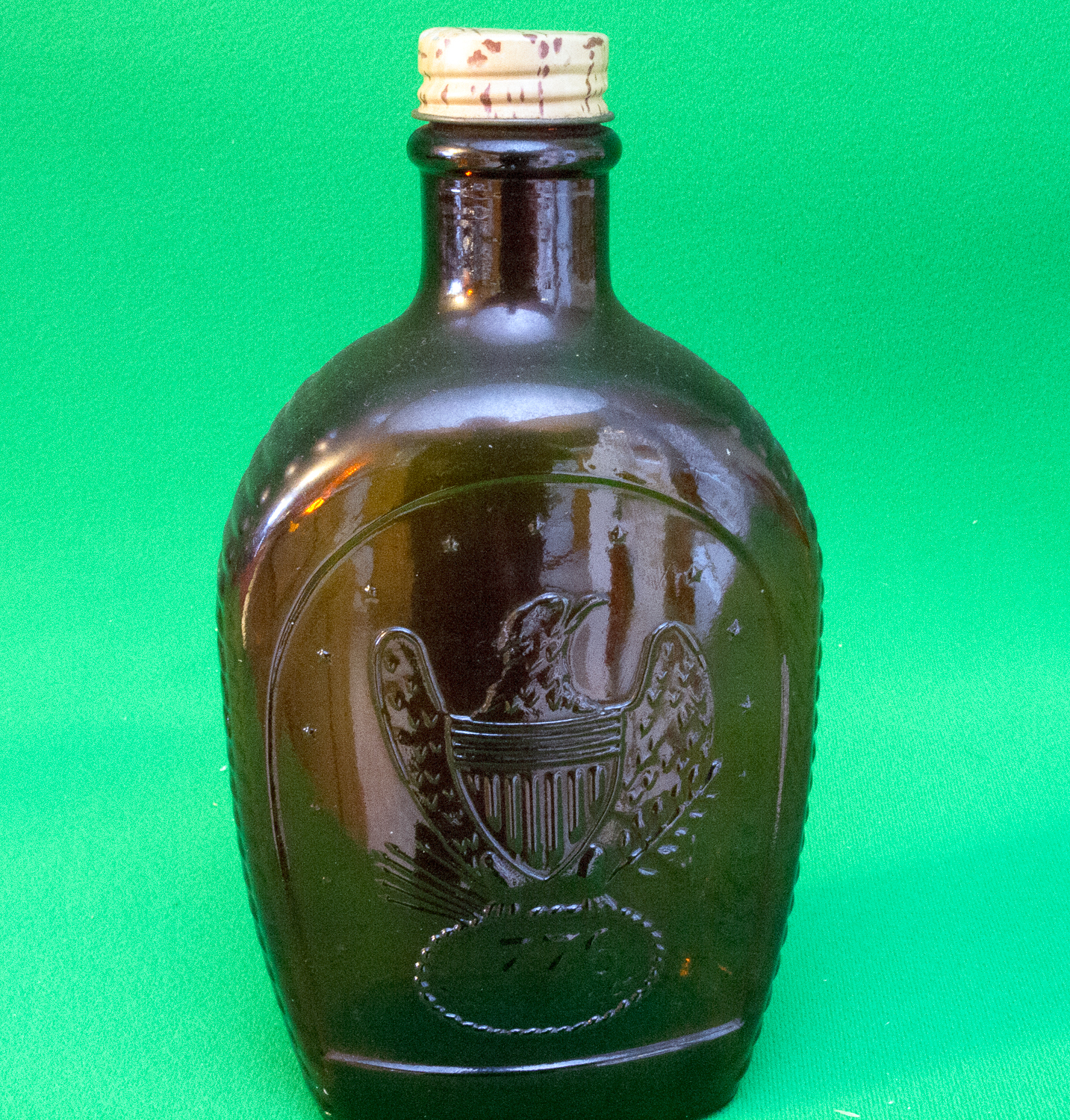 Wonderful image of Log Cabin Syrup Bicentennial Brown Bottle 1776 And Eagle Design  with #09C282 color and 1433x1500 pixels