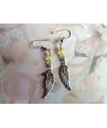 Green Repurposed Dangle Earrings Handmade Small... - $14.99