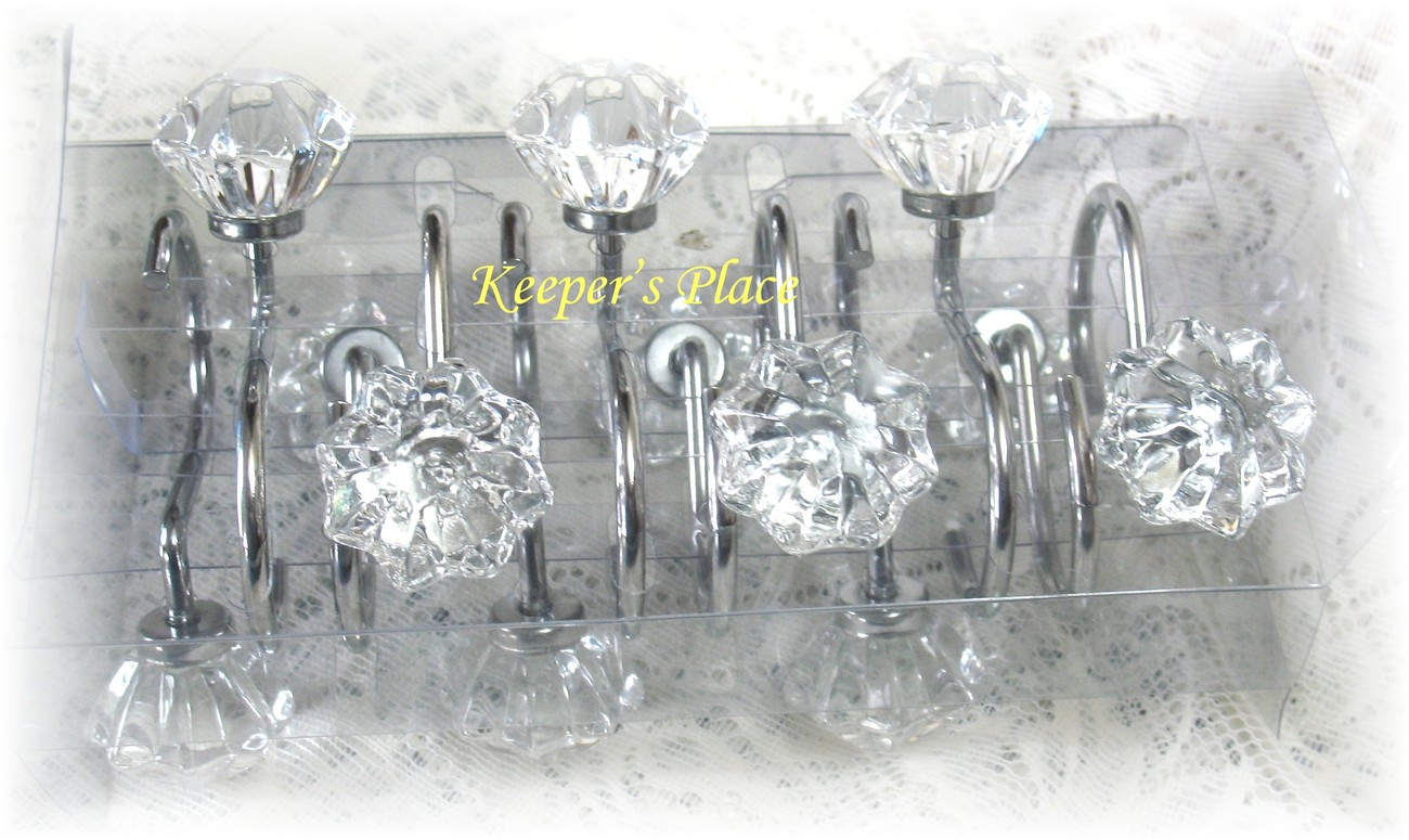 Simply shabby chic rachel ashwell glass knob vintage look for Shabby chic rhinestone shower hooks