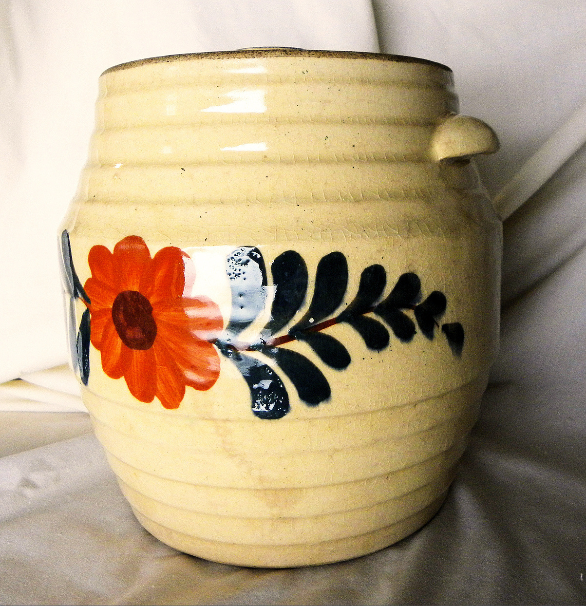 Collectible Cookie Jar Stoneware Crock Orange Flower