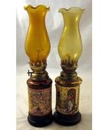 2 Hurricane Lamps Emergency Kerosene Oil Amber ... - $20.00