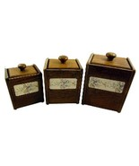 3 Pc Wood Wooden Square Canister Set Canisters ... - $25.00