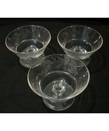 3 Clear Pressed Glass Low Sherbet Floral Etched... - $20.00