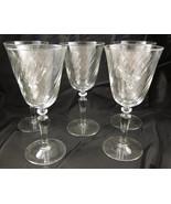 5 Pc Set White Wine Glasses Clear Glass Swirl P... - $25.00