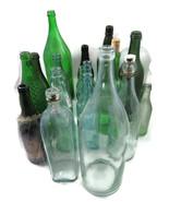 17 Pc Bottle Lot Green Glass Misc Bottles Soda ... - $20.00