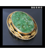 Vintage CATAMORE 12K GOLD-FILLED Green JADE Bro... - $45.00