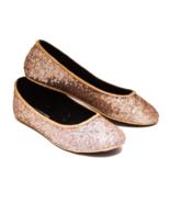 Sequin Champagne Gold Slipper Ballet Flats Shoe... - $39.99