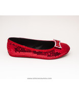 Sequin | Red Ballet Slipper Flats with Crystal ... - $49.99