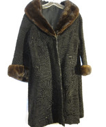 Curly Lamb's Fur Coat Jacket Black Winter Long ... - $50.00