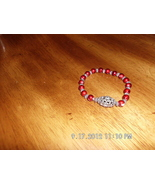 Handmade Red Faux Pearl With Silvertone Spacers... - $3.99