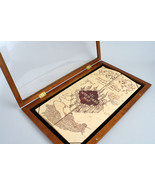 Harry Potter Marauders Map & Wooden Display Case Noble Collection Barely Used - $64.95