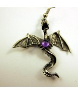 Single Pierced Earring Dragon Silver Tone Purpl... - $20.00