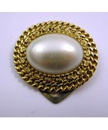 Dress Scarf Clip Gold Tone Faux Pearl Large Ova... - $20.00