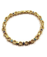 Bracelet Gold Purple Blue Colorful Rhinestones ... - $20.00