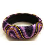 Bracelet Bangle Purple Gold Fabric Chunky Big N... - $20.00