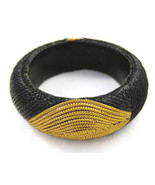 Bracelet Bangle Black Gold Fabric Big Chunky NE... - $20.00
