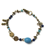 Bracelet Light Dark Blue Beads Gold Tone Delica... - $20.00