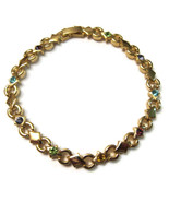 Bracelet Gold Tone Colorful Rhinestones Purple ... - $20.00