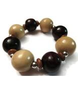 Bracelet Beaded White Red Wooden Wood Beads Chu... - $20.00